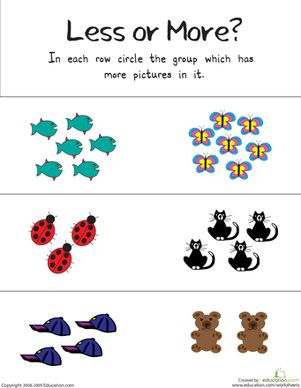 More Or Less Worksheets For Kindergarten & more less or equal ...