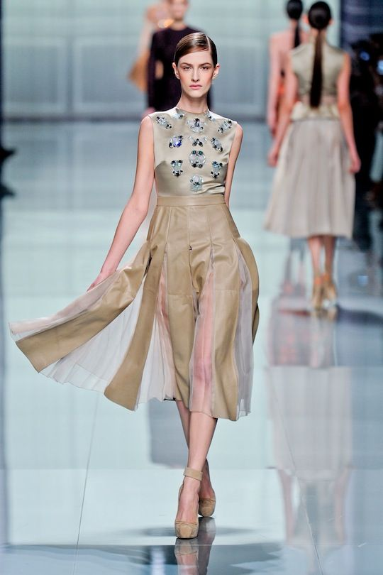 Dior-Again love the skirt, the top isn't right, are those mirrors??