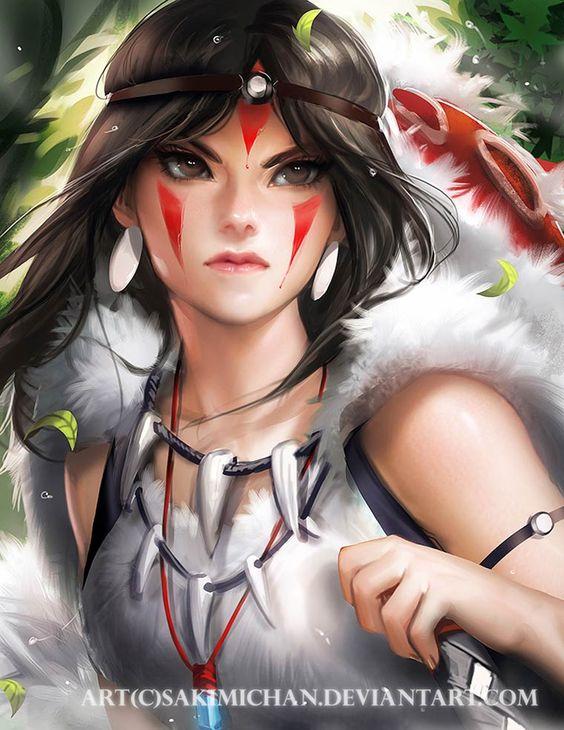 Princesse Mononoke. Une princesse peu populaire et mal connu. Son aspect sauvage et plein de fougue la différencie de Pocahontas ou encore Merida et Mulan. Au grand publique voici la princesse des loups: Mononoke. | Ufunk.net