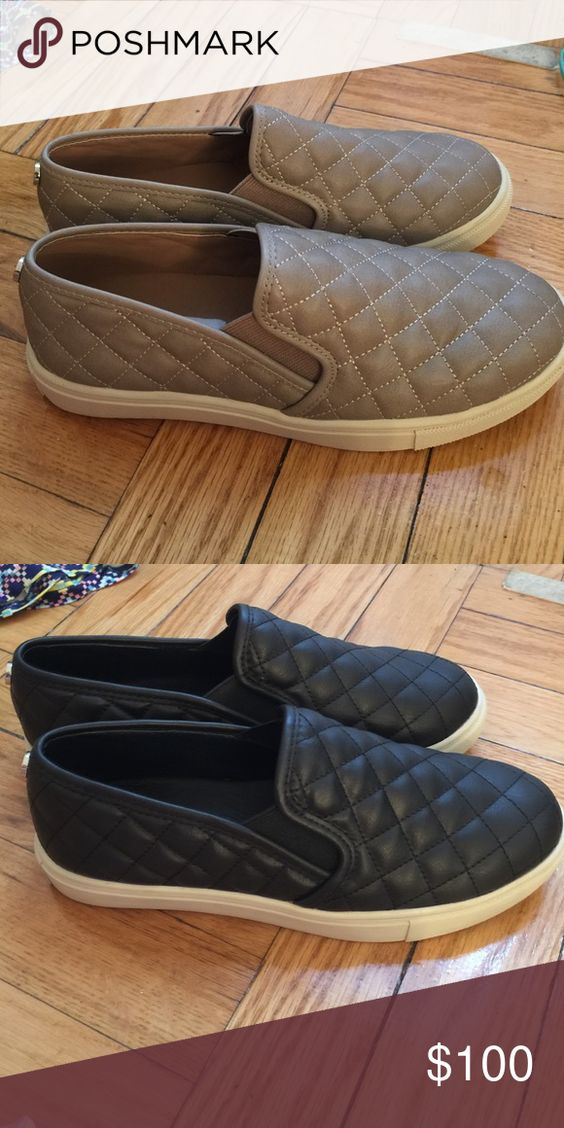 Steve Madden EcentrcQ Quilted Leather Slip On Only worn once Steve Madden quilted leather slip ons. Super cute Steve Madden Shoes Sneakers
