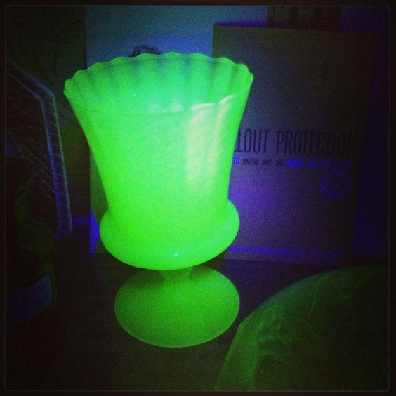 One of my favourite Uranium glass pieces under black light.