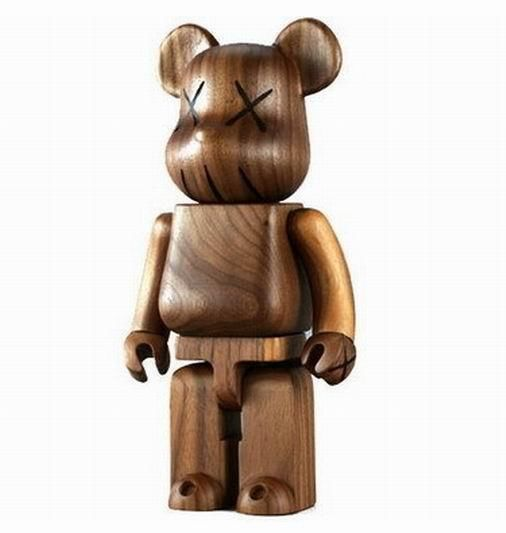 Medicom 2005 Be@rbrick KAWS Wooden Karimoku 400% Original Fake Wood Bearbrick