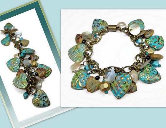 polymer clay Heart Bracelet | Flickr - Photo Sharing!    available in my Etsy Shop:)