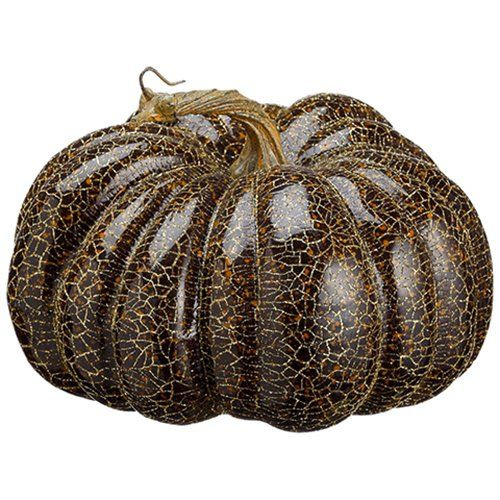 65 Artificial Glittered Crackle Pumpkin BlackGold pack of 6 *** Check this awesome product by going to the link at the image.