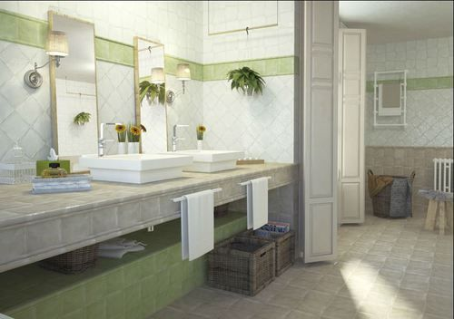 Le Carrelage Faience Rustique Patinee Vert 15x15 Cm 1 M Sont Elegantes Rassurantes Pour Votre Salle De Ba Deco Salle De Bain Carrelage Faience Salle De Bain