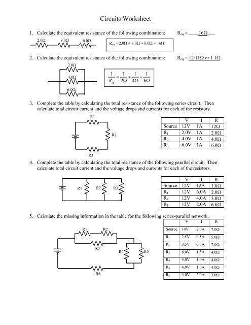 Series And Parallel Circuits Worksheet Circuits Worksheet Worksheets Series And Parallel Circuits Money Worksheets