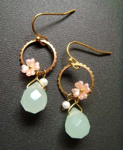 minette  candy kisses  floral drop earrings by trystbykerry, $36.00