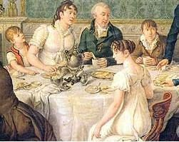 "Nine of the clock was considered the ""breakfast hour"" by bankers, merchants, etc. The whole family gathered about the table. The said ""breakfast"" did not fit what we now think of the morning meal. Instead, it was bread and tea."