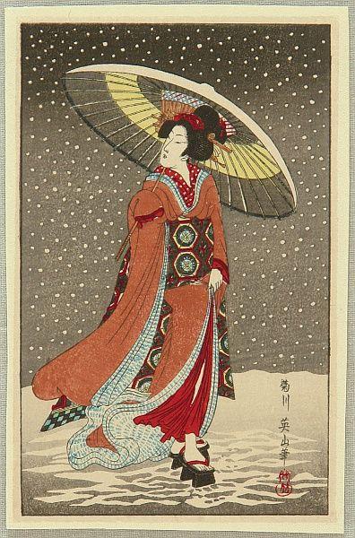 Eizan Kikugawa 1787-1867 - Beauty in the Snow