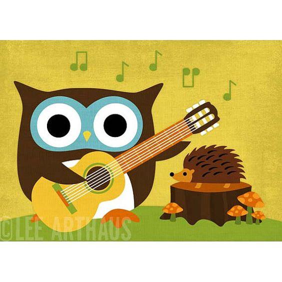 owl playing the guitar -#main
