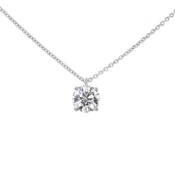 Pre-owned Tiffany & Co. Brilliant Cut Diamond Platinum Pendant found on Polyvore