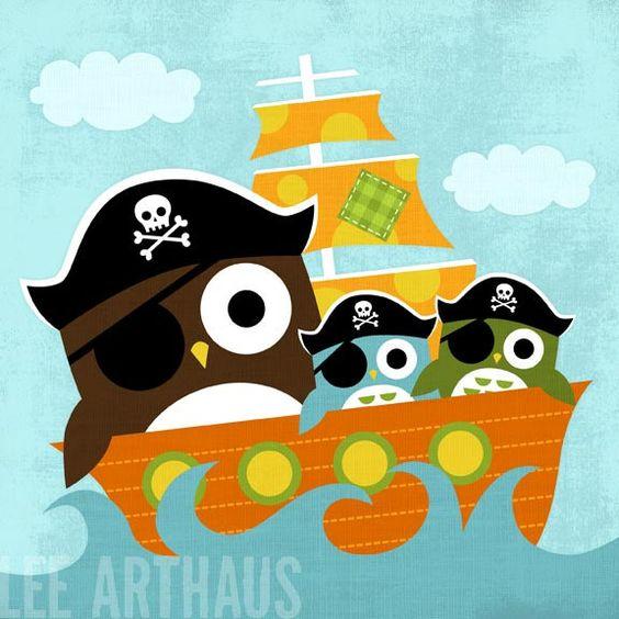 109B brilhante Pai coruja pirata e Filhos