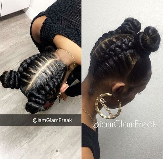 Two buns and braids: