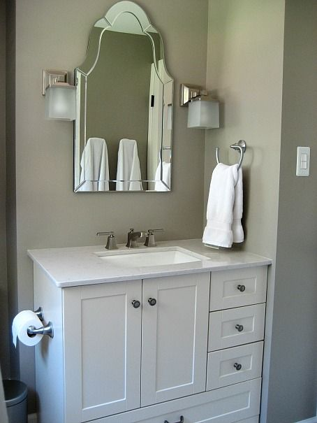Hallway Bath Reno   Questions Answered! Mirror From Lowes With Home Depot  Vanity And Silestone