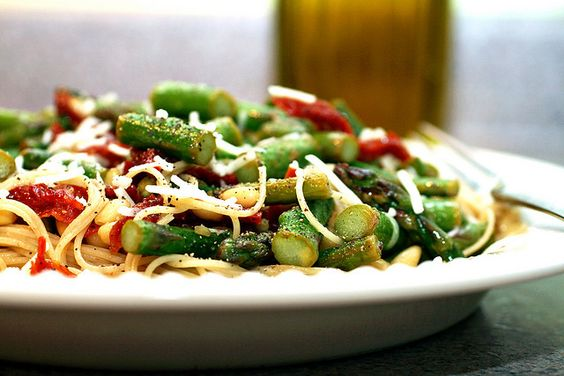 angel hair with asparagus, sun-dried tomatoes and pine nuts