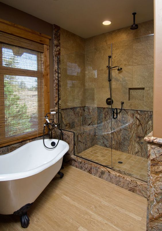 Brown Marble Bathroom Floor : Rainforests wood planks and granite on