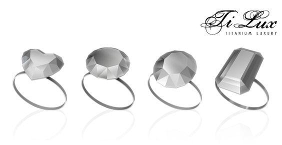 Linea TiLux – TITANIUM LUXURY { Precious Stones } - Gioielli in Titanio Puro - Made in Italy. Linea di anelli ispirata alle geometrie perfette delle pietre preziose naturali. ANELLI TAGLIO DIAMANTE - RUBINO - SMERALDO. www.titaniumluxury.it ...for your love, for your #wedding, for your emotions!
