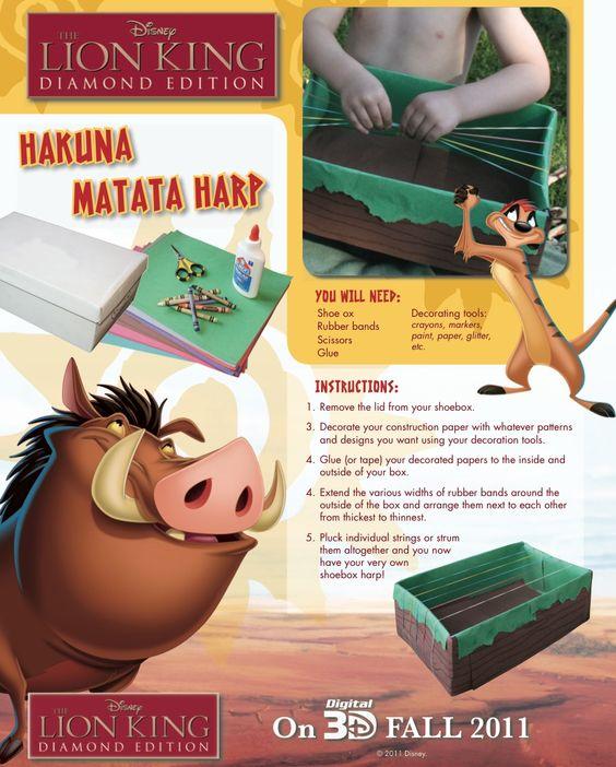 Make a Hakuna Matata Harp: Harp Craft, No Worries, Disney Licious, Disney World, Craft Mama, Hukuna Matata, Lion King, King Hakuna, Matata Harp