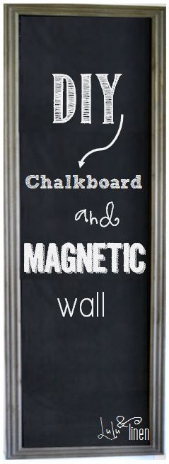 DIY Magnetic Chalkboard Wall. For the end cabinet. I think I will frame the sheet metal and make it look like it is done right on the cabinet.