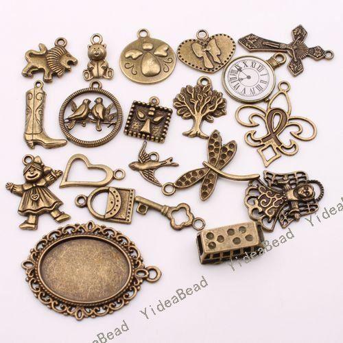 Venda por atacado 80 misturaram a colar apta 140178 de 20 CORRENTES de Pandent do tom de bronze antigo dos