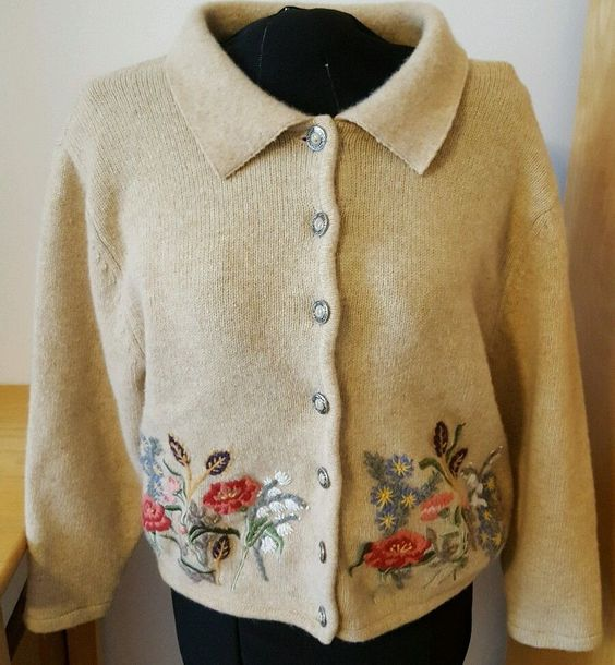 Appleseed's Womens Wool Sweater Button Up 100% Lambs Wool Floral Large Petite PL  | eBay