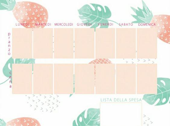 Menu settimanale stampabile - Free printable week food planner #meal planner