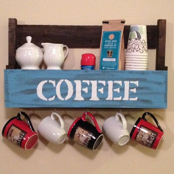 Coffee shelf with cup mug holders rustic made out of for Coffee rack diy