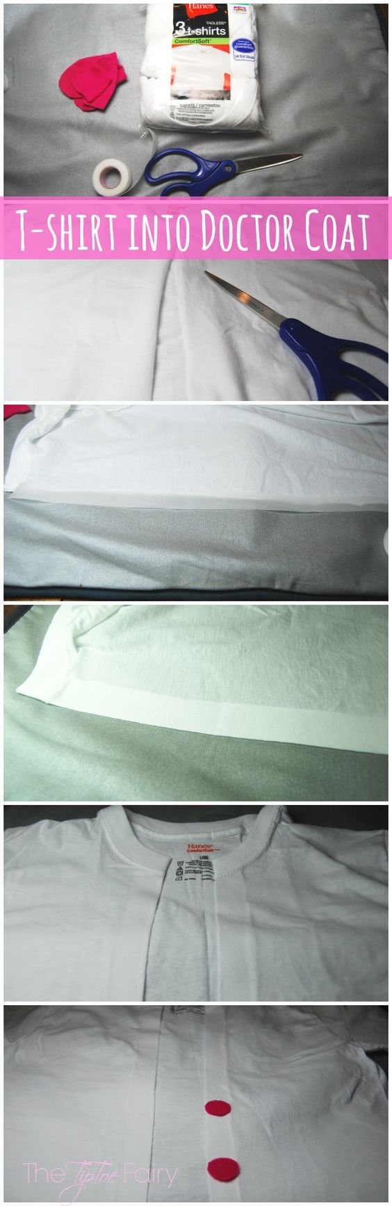 How to turn a t-shirt into a Dr.'s coat. Also has a tutorial for how to make a cute play stethoscope.