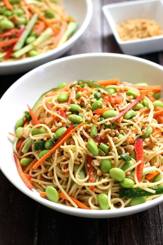 Cold Noodle Salad with Peanut Sauce and Vegetables - Green Valley Kitchen