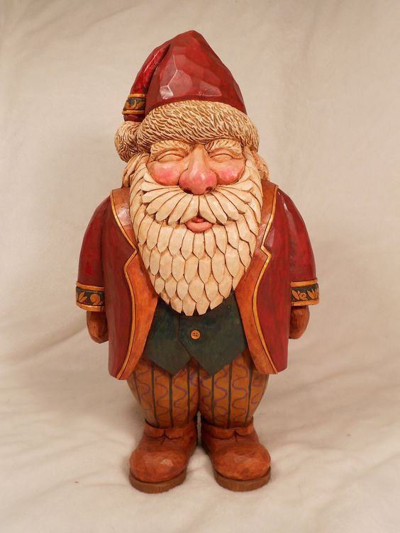 Hand carved wooden santa collectible happy dr who and