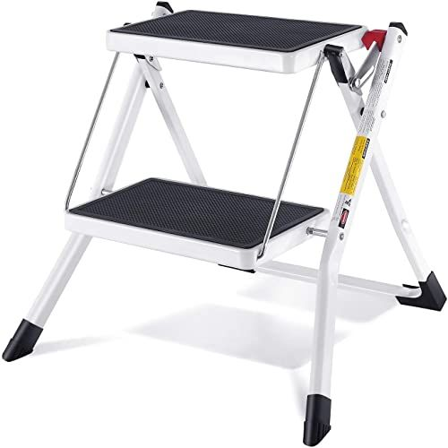 New Shenhan Two Step Stools Small Folding Steel Step Stool Portable Anti Slip Heavy Duty Step Stool Adults Kid White Folding Step Stools Home School Office 225lb Capacity Online Shopping In 2020 Plastic