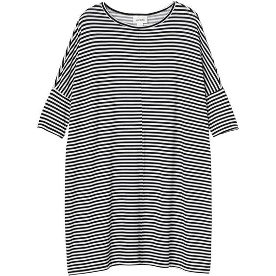 Monki Jonna dress (455 MXN) ❤ liked on Polyvore featuring dresses, tops, vestidos, sleek stripes, striped dress, sleeve dress, kohl dresses, black striped dress and black sleeve dress