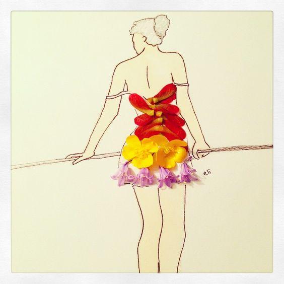 #inspiration #floral #fashion #dress #design #art #artwork #illustration #drawing #sketch #doodle #ballerina #girl #realflower #flower #blossoms #soul #women
