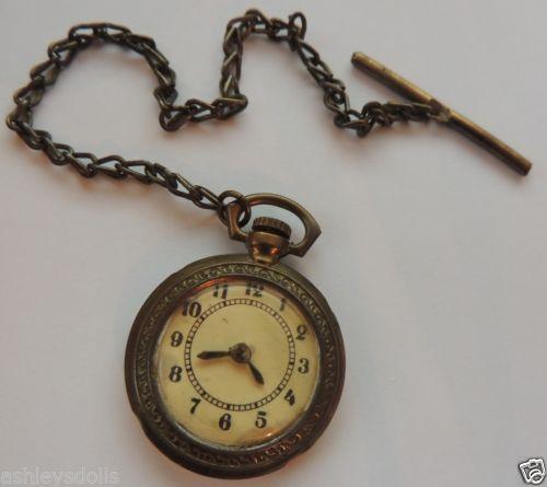 Antique Toy Watch Pocketwatch, Antique Watch, Metal w Celluloid Lens, 1 1/4 IN