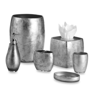 Silver  Pewter  or Gray bathroom accessories with clean lines  To include  toothbrush. Silver  Pewter  or Gray bathroom accessories with clean lines  To