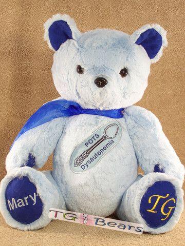 Caitlyn Bear, handmade teddy bear for POTS awareness