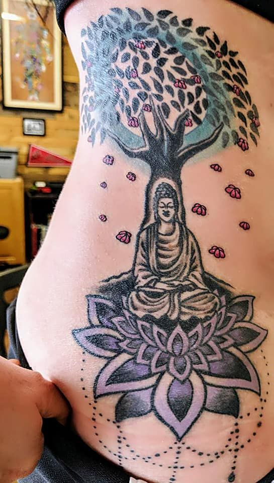 Bodhi Tree Buddha Lotus Side Tattoo With Images Bodhi Tree Tattoo Bodhi Tree Inspirational Tattoos