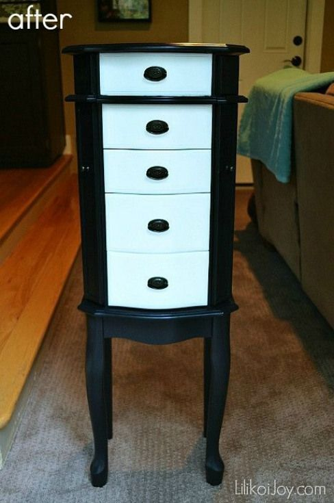 Craigslist Jewelry Armoire Makeover Classic B W Diyjewelry Diy Jewelry Armo Armo Jewelry Armoire Makeover Armoire Makeover White Jewelry Armoire