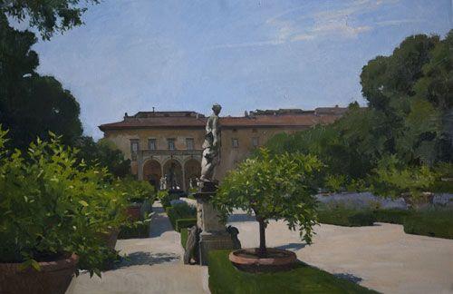 """Titre:    Corsini Gardens, Juillet moyen:    Huile sur toile de lin Taille:    27 """"x 39"""" Prix: Envoyer la galerie"""