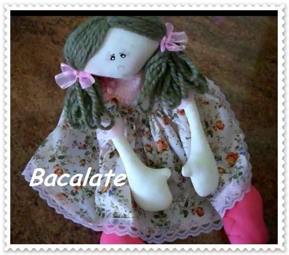 Como fazer CABELO de BONECA Costurado à máquina - Boneca de pano Manu ~ BACALATE
