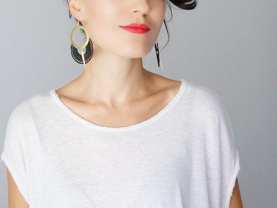 Ocri // Hoop Earrings/ Black Earrings/ Lace Earrings/ Statement Earrings/ Modern Earrings/ Gold Earrings/ Girlfriend Gift/ For Her #design #jewelry