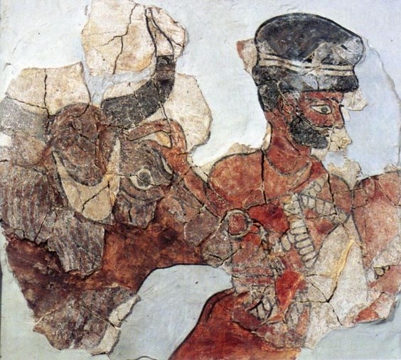 Priest Guiding a Sacrificial Bull – Fragment of a mural painting (2040-1870 BC) from the palace of Zimri-Lim, Mari (modern Tell Hariri, Iraq) Aleppo, Syria, National Museum: