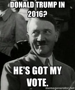 f911206626bf00fde602b03aa5be0e7a hitler meme aryan race emily's virtual rocket column donald trump's war on his own,Dump Trump Meme