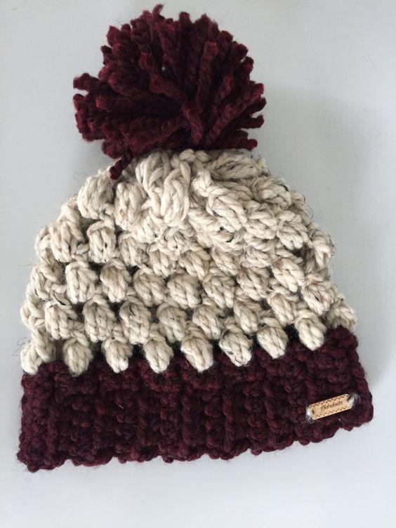 Crochet Puff Stitch Beanie // Burgundy // Oatmeal // Womens Puff Stitch Hat by FFFabuknits on Etsy