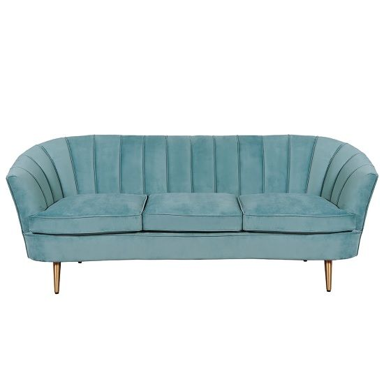 Terrie 3 Seater Fabric Sofa In Sea Green With Brass Legs Fabric