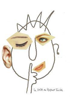 3 grappige gezichten gratis af te drukken en zelf aanvullen met foto's uit tijdschriften - Le DADA de l'Enfant Terrible: Art face