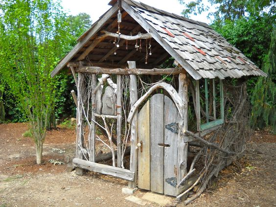 Outdoor playhouses chickadees and faeries on pinterest for Whimsical playhouses