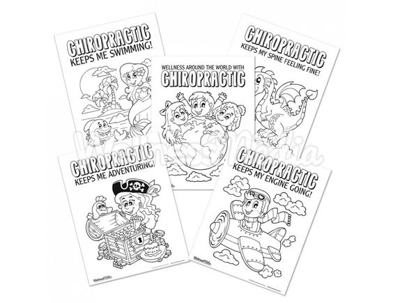 These 85 x 11 chiropractic coloring sheets for kids feature 5