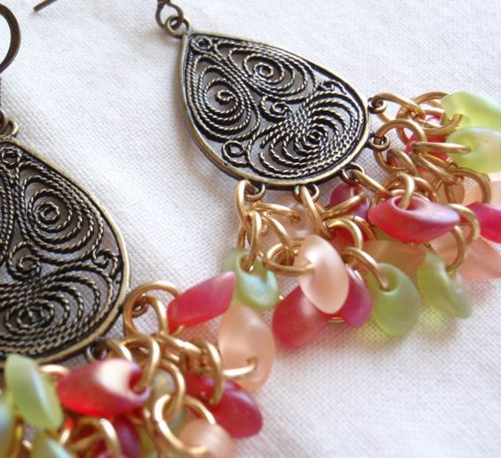 John.n.Deni  Brass Beaded Earrings Fruit Salad Shaggy Loops by cutterstone, $27.00