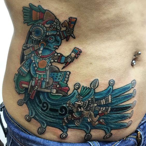 TLALOC tatuaje echo por Osvaldo Castillo, tatuajes prehispánicos México D.F Tatuajes ofrenda de sangre. Tatuadores mexicas de la gran Aztlan. Tatuaje a color ceremonial.